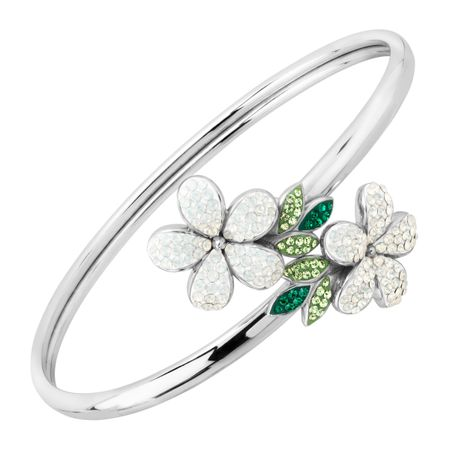 Floral Bypass Cuff Bracelet with Swarovski Crystals