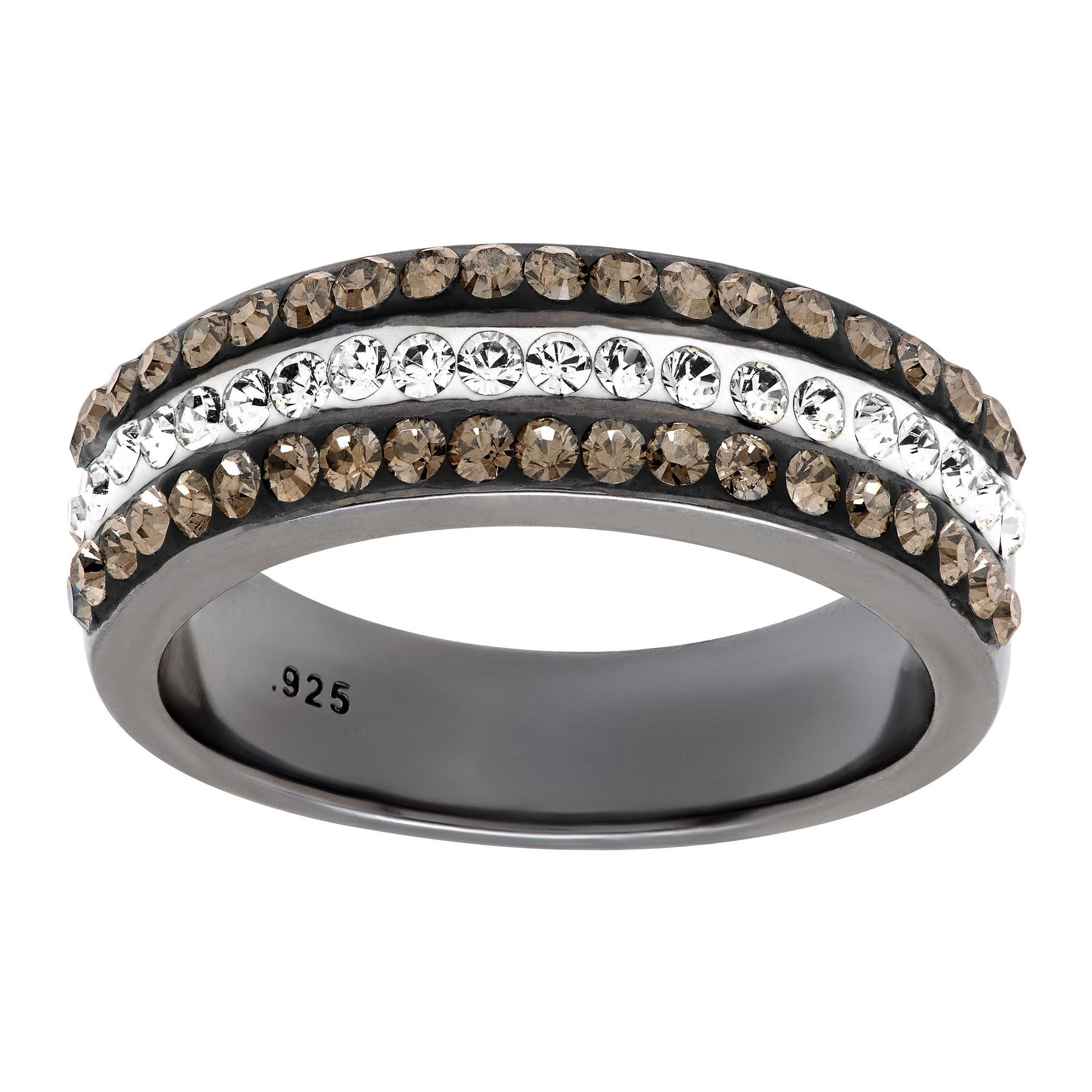 9c0b5def5 Crystaluxe Triple Band Ring With Swarovski Crystals In Black Rhodium