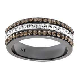 Triple-Band Ring with Swarovski Crystals