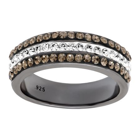 d032753fb Crystaluxe Triple-Band Ring with Swarovski Crystals in Black Rhodium ...