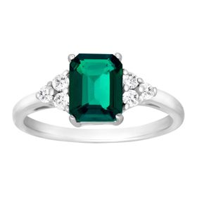 1 5/8 ct Emerald & White Topaz Ring