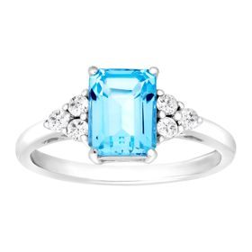2 1/4 ct Swiss Blue & White Topaz Ring
