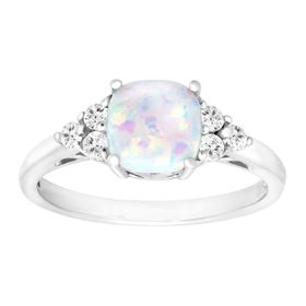 5/8 ct Opal & White Topaz Ring