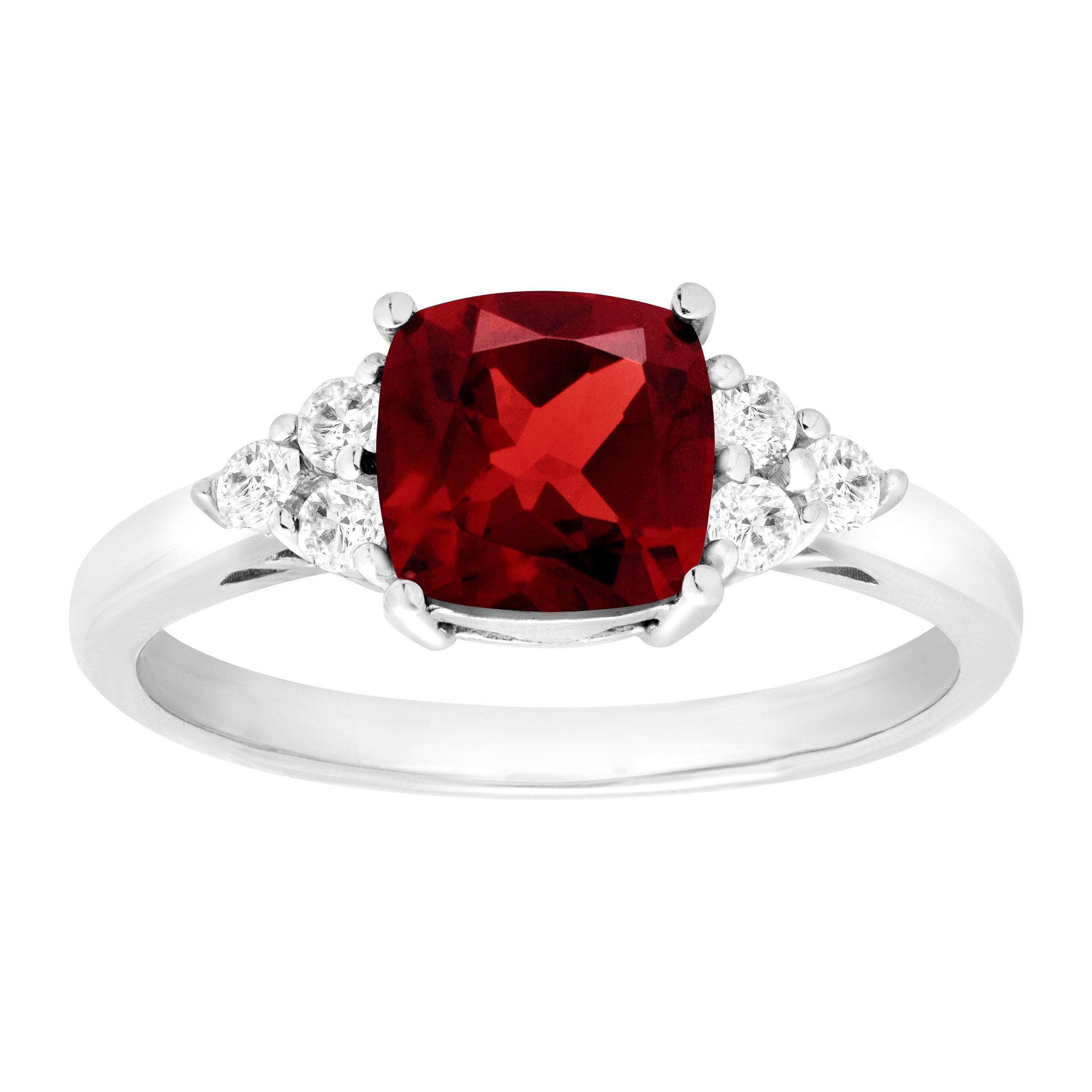 5 Ct Cushion Cut January Birthstone Garnet Sterling Silver Solitaire Ring Jewelry & Watches Engagement & Wedding