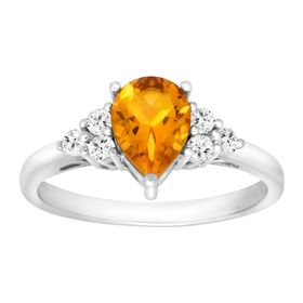 1 1/5 ct Citrine & White Topaz Ring