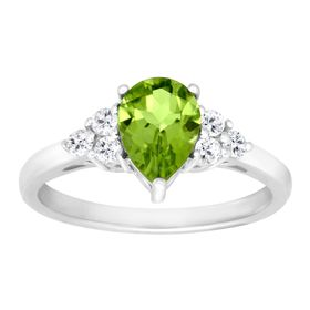 1 1/2 ct Peridot & White Topaz Ring