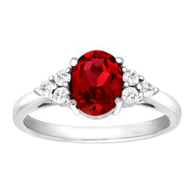 1 7/8 ct Ruby & White Topaz Ring