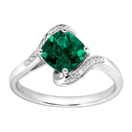 1 3 8 ct created emerald ring with diamonds in sterling