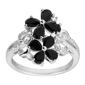 1 1/4 ct Onyx Flower Ring with Diamonds