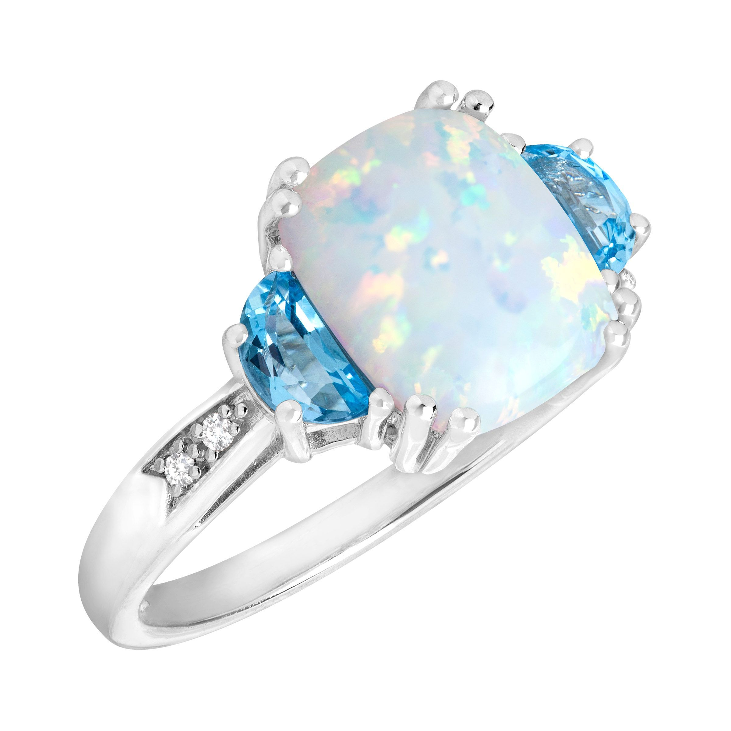2 3 8 ct opal swiss blue topaz ring with