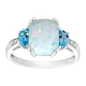 1 1/5 ct Opal & Blue Topaz Ring with Diamonds