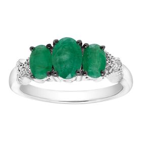 1 3/4 ct Emerald Trio Ring with Diamonds