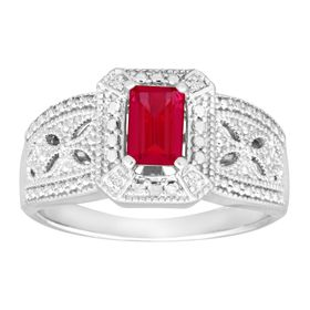 3/4 ct Ruby Ring with Diamonds