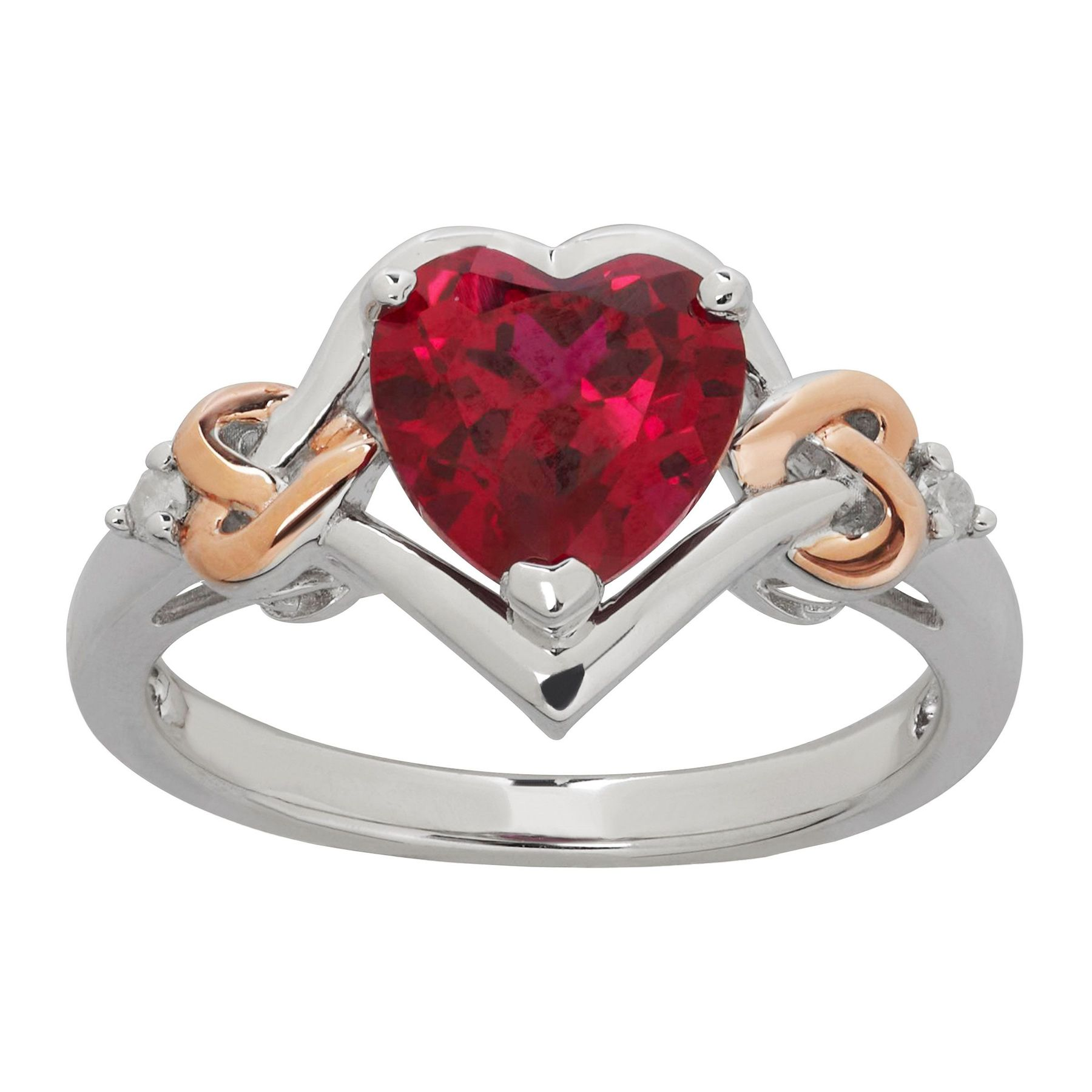 2 1/5 ct Created Ruby Heart Ring with Diamonds in 14K Rose Gold ...