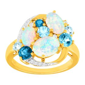 3 1/10 ct Opal, Blue Topaz & White Sapphire Ring