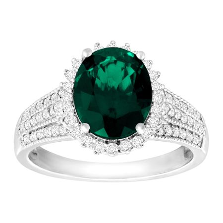 3 ct created emerald white sapphire ring in sterling