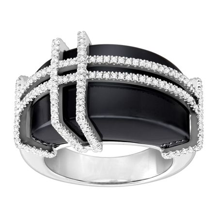 Natural Onyx & 1/2 ct Diamond Plaid Dome Ring in Sterling Silver