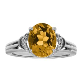 2 1/5 ct Citrine & 1/8 ct Diamond Ring