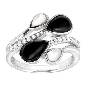 1/5 ct White Topaz, Onyx & Mother-of-Pearl Ring