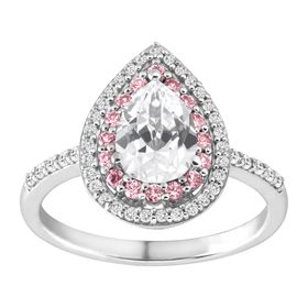 2 ct White & Pink Sapphire Pear-Shaped Ring