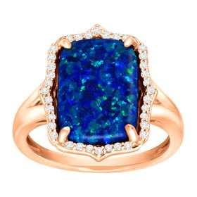 2 3/4 ct Blue Opal & White Topaz Ring