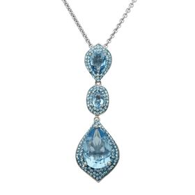 Triple Drop Pendant with Blue Swarovski Crystals