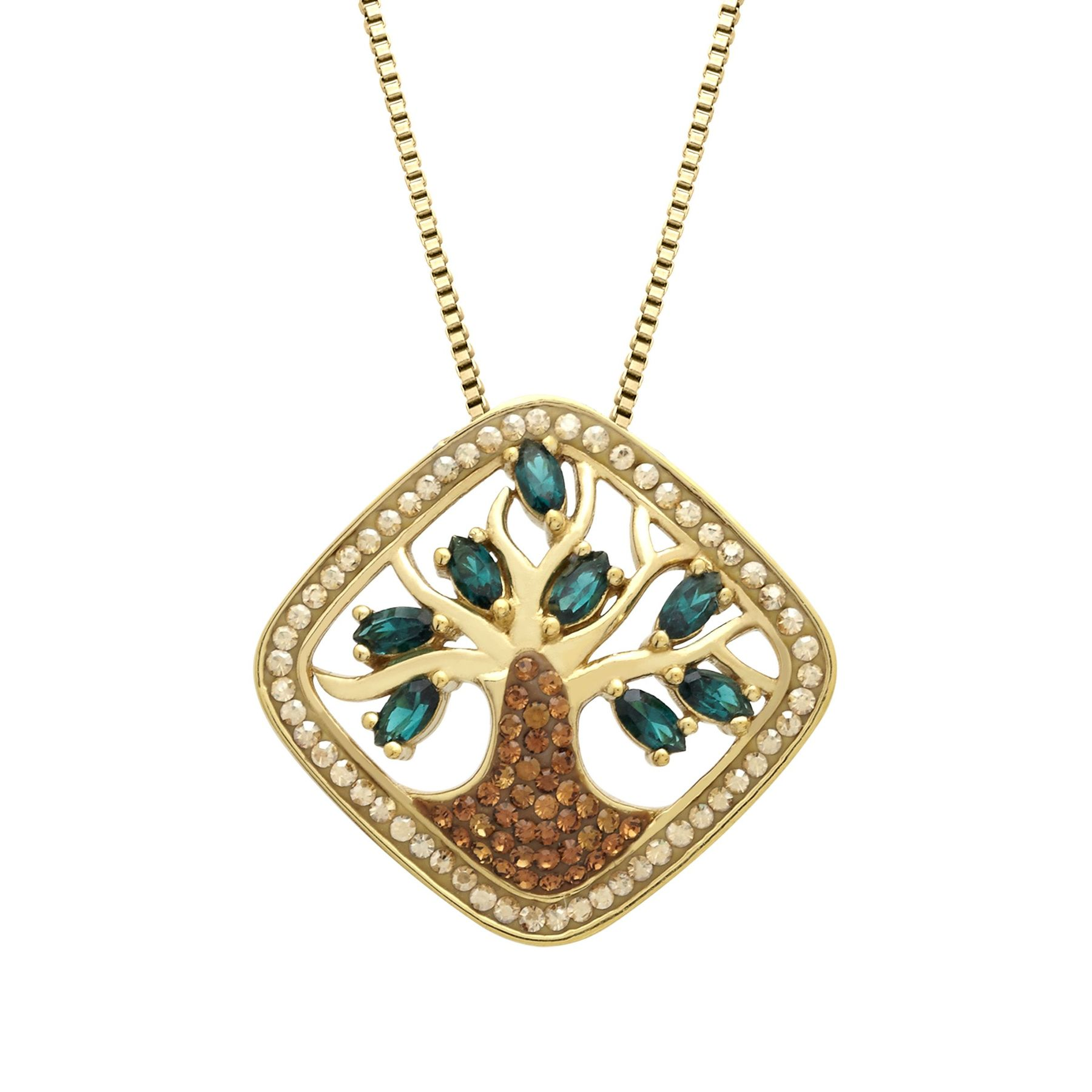 6d9173dcb316b Crystaluxe Tree of Love Pendant with Swarovski Crystals in 18K Gold-Plated  Sterling Silver