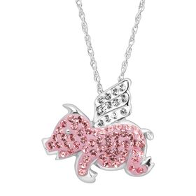 Flying Pig Pendant with Swarovski Crystals, Silver