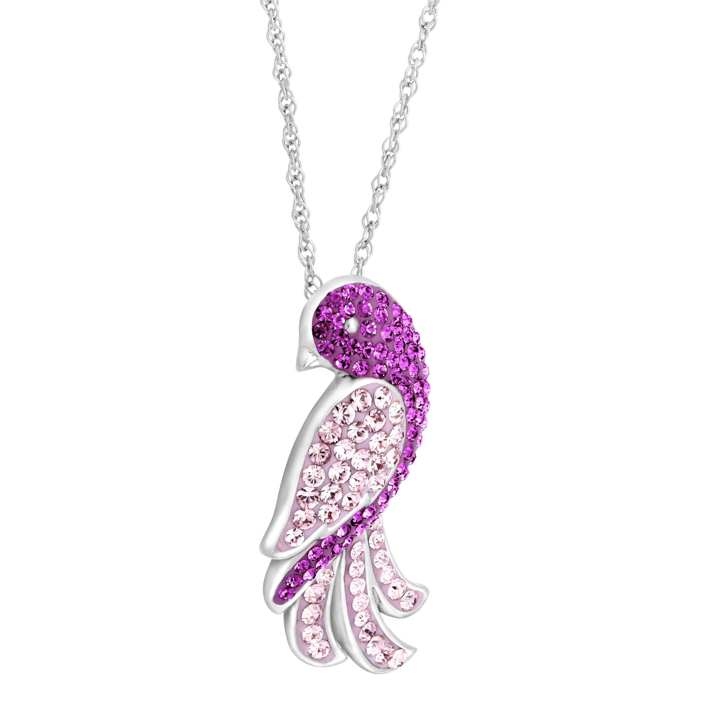 a2066a99f983 Crystaluxe Bird Pendant with Purple Swarovski Crystals in Sterling Silver