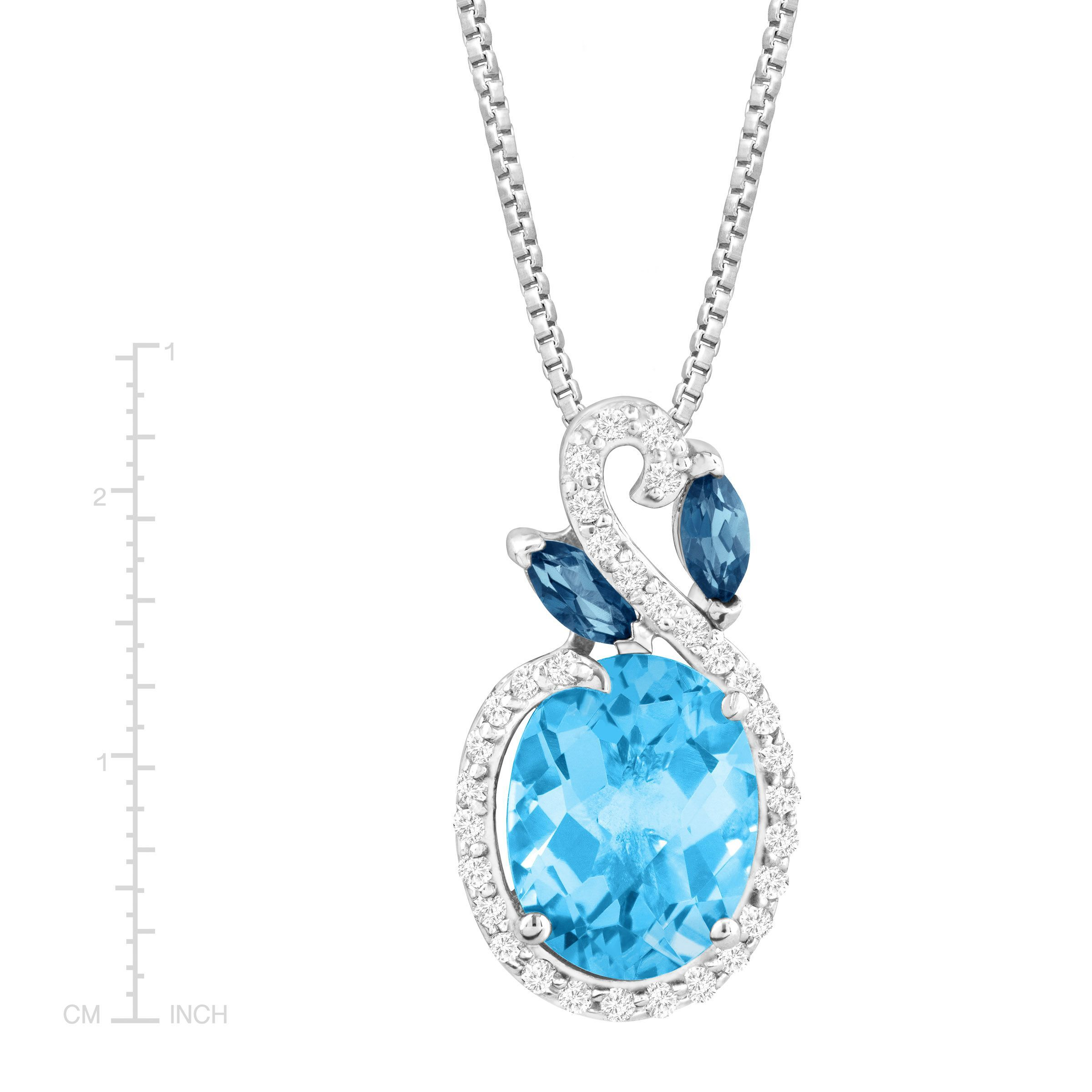 silver bee birks pendant chic blue en necklace topaz