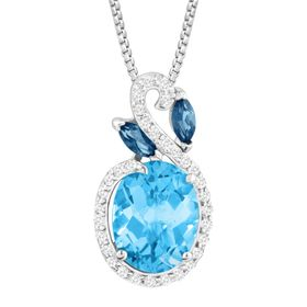 3 1/2 ct Multi-Blue & White Topaz Pendant