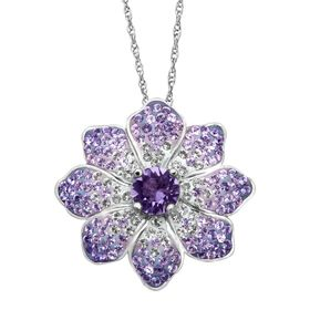 Flower Pendant with Purple & White Swarovski Crystals