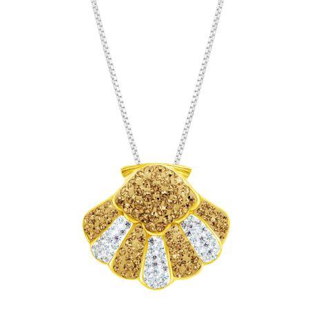 Crystaluxe seashell pendant with swarovski crystals in 18k gold seashell pendant with swarovski crystals aloadofball Images
