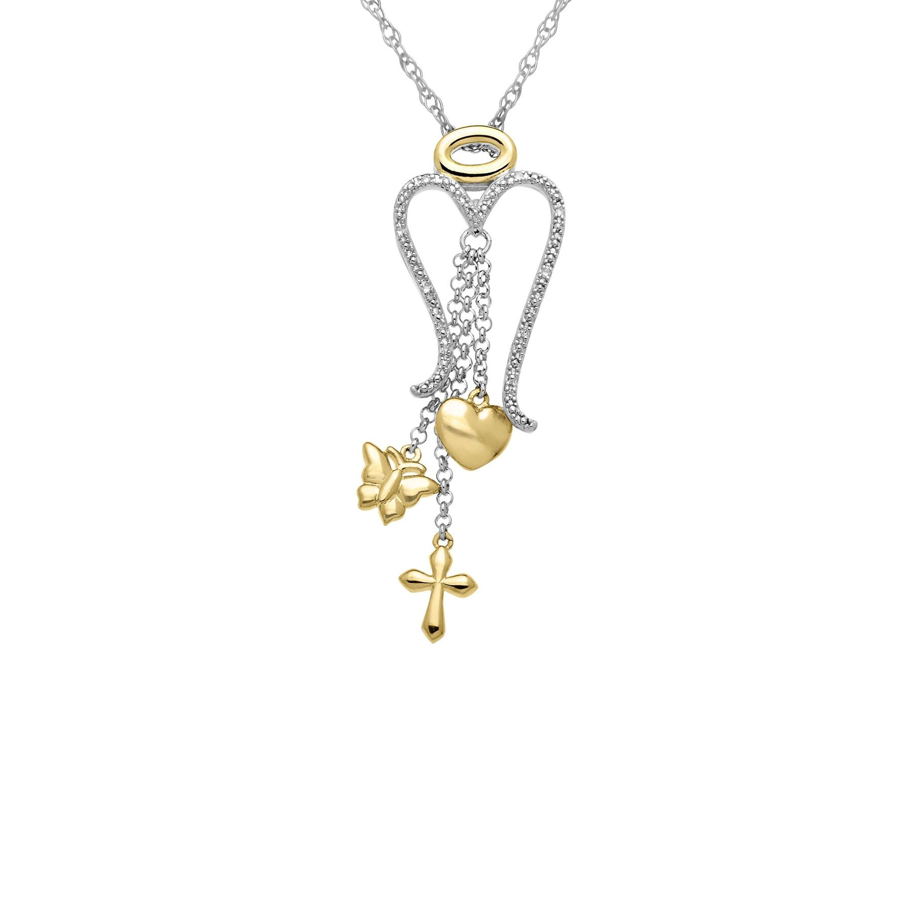 pendant and necklace carat chain cross angel diamond gold a ctw wings in white rose