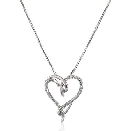 1/10 ct Diamond Interlocking Heart Pendant