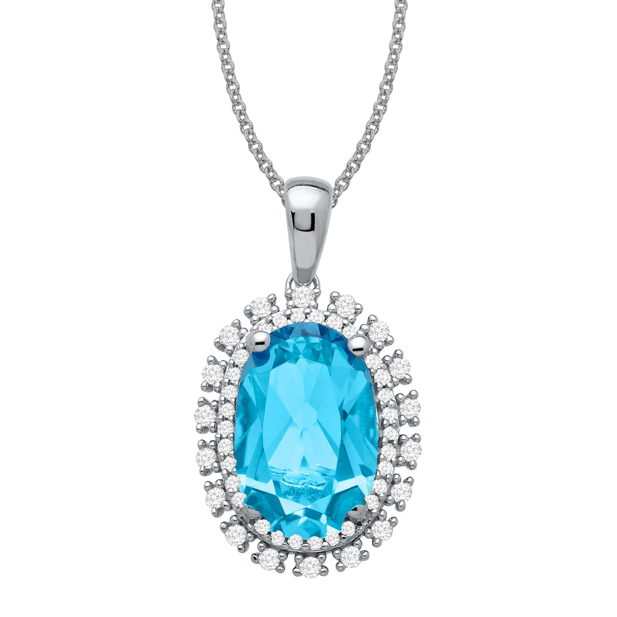 2.38 Ct Oval Checkerboard Swiss Blue Topaz 925 Sterling Silver Pendant