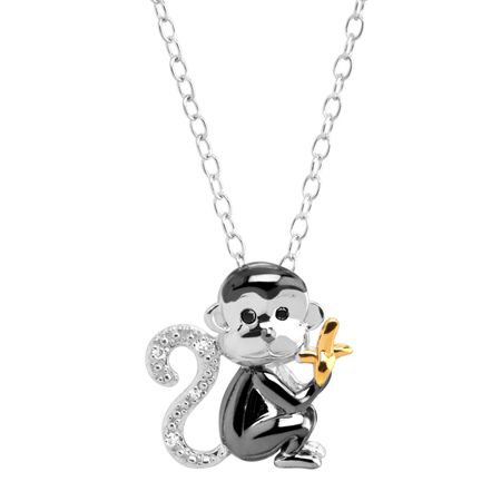 Monkey & Banana Pendant with Diamonds