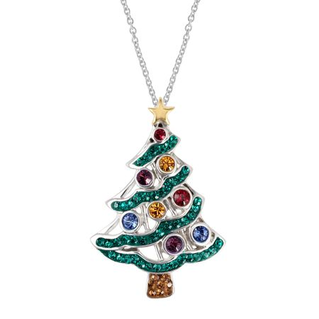 Crystaluxe christmas tree pendant with swarovski crystals in 18k christmas tree pendant with swarovski crystals aloadofball Choice Image