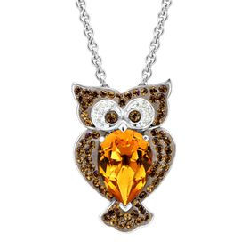 Owl Pendant with Brown Swarovski Crystals