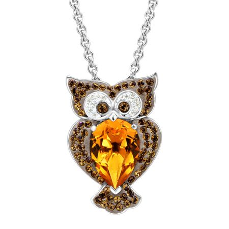 Crystaluxe owl pendant with brown swarovski crystals in sterling owl pendant with brown swarovski crystals mozeypictures Image collections