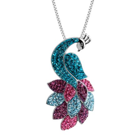1a4529cd28305 Crystaluxe Peacock Pendant with Multicolored Swarovski Crystals in Sterling  Silver