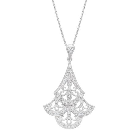 1/8 ct Diamond Scalloped Filigree Fan Pendant