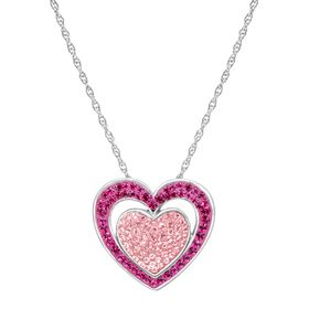 Double Heart Pendant with Swarovski Crystals
