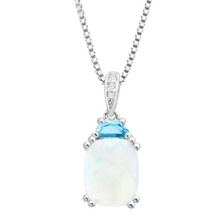 2 1/6 Opal & Blue Topaz Pendant with Diamonds