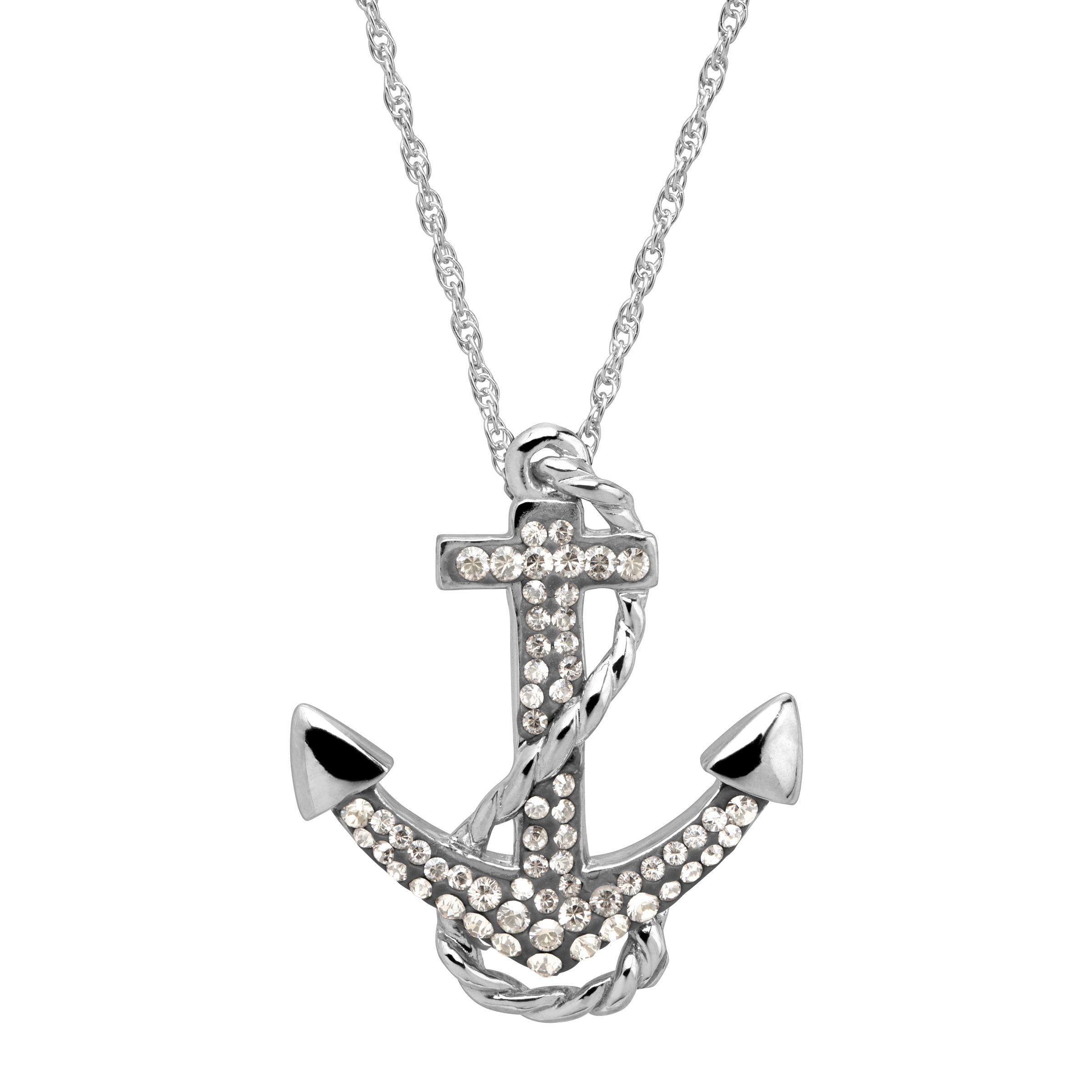 Crystaluxe Anchor Pendant With Swarovski Crystals In