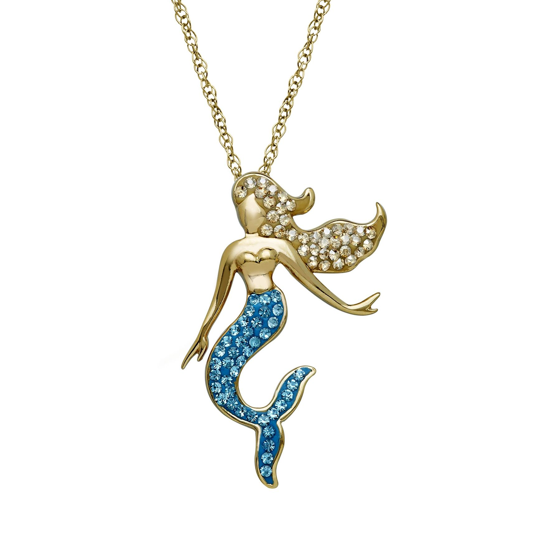 Crystaluxe mermaid pendant with swarovski crystals in 18k gold mermaid pendant with swarovski crystals aloadofball Gallery