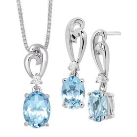 3 3/8 ct Blue & White Topaz Pendant & Earrings Set