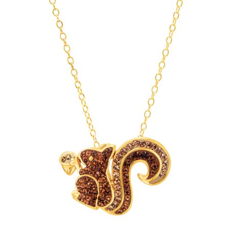 Crystaluxe squirrel pendant with swarovski crystals in 18k gold squirrel pendant with swarovski crystals aloadofball Gallery
