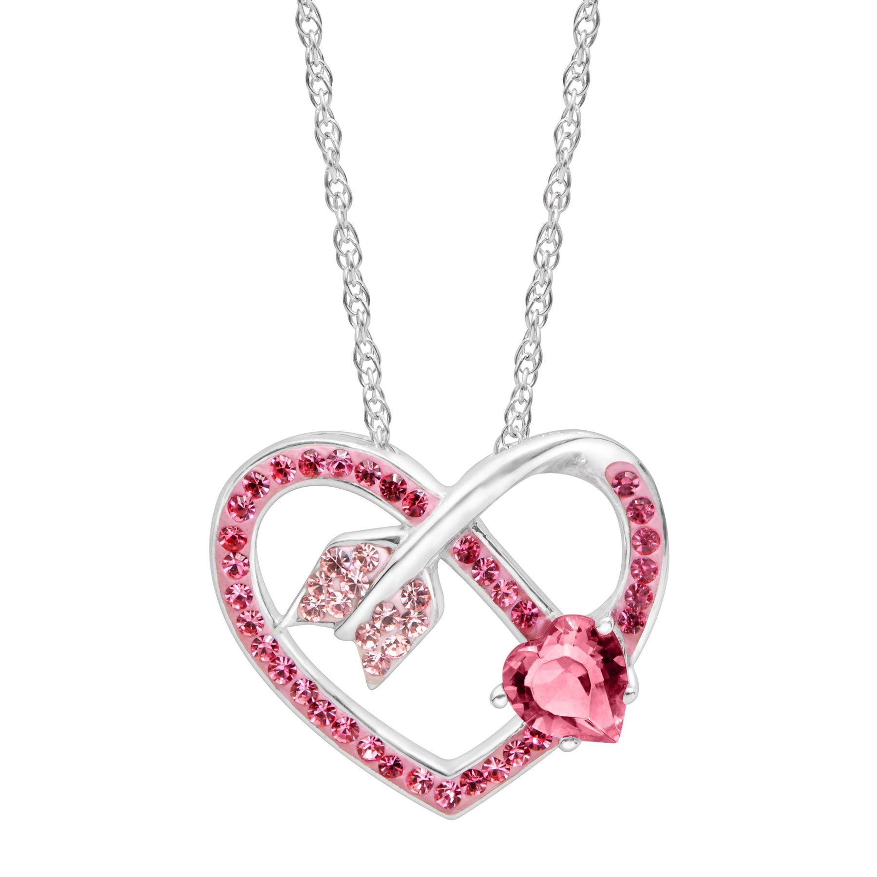 96837ab2ae6b4f Crystaluxe Arrow Heart Pendant with Pink   Rose Swarovski Crystals in  Sterling Silver