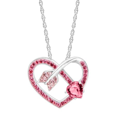 Arrow Heart Pendant with Pink & Rose Swarovski Crystals